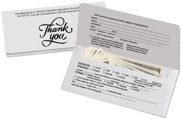 A remit envelope print and mailed for non-profit Friendship House out of Mt. Vernon, WA