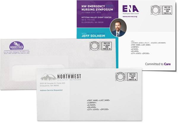 A #10 envelope, windowed envelope, and postcard direct mail examples