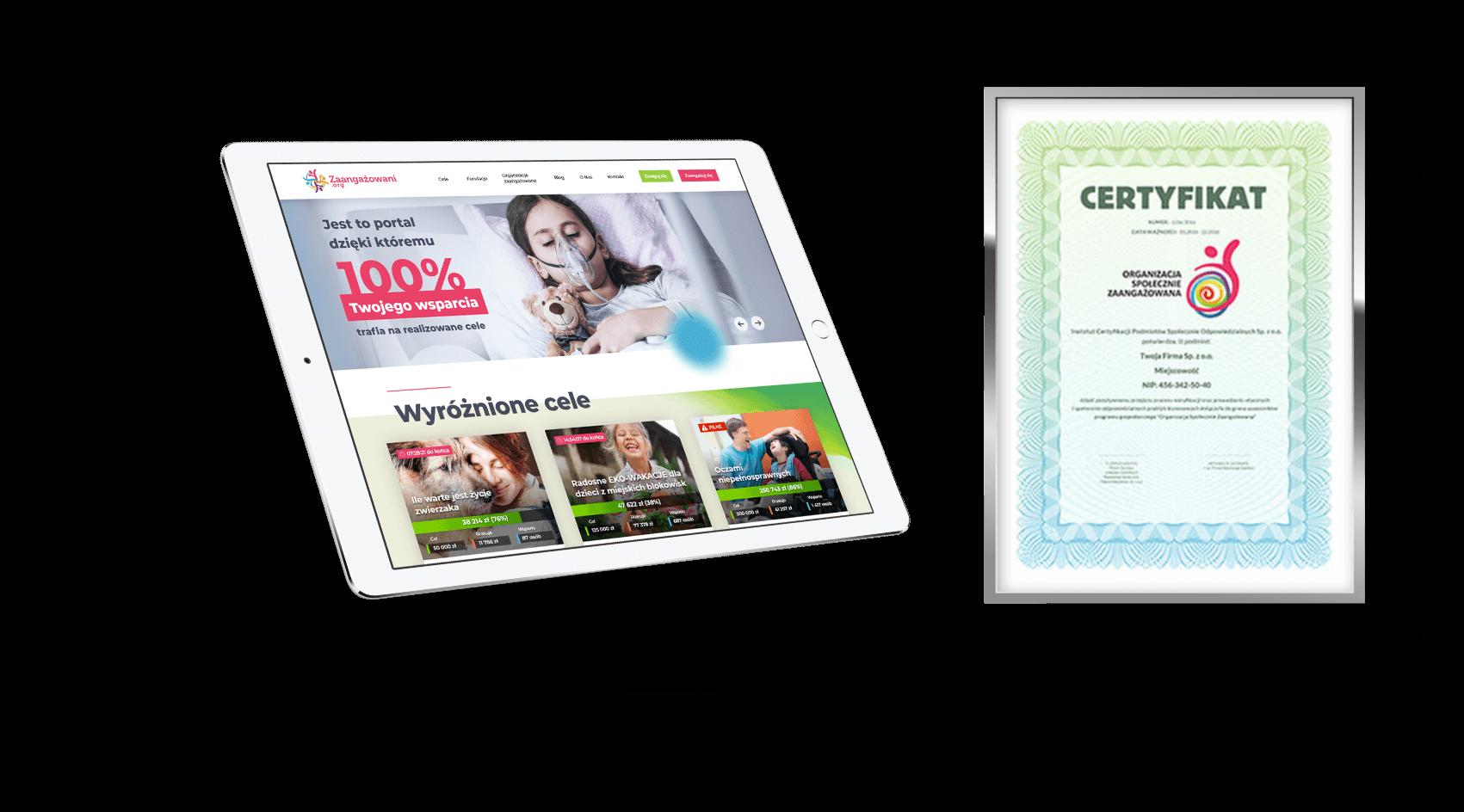 iPad zaangangażowani.org oraz certyfikat