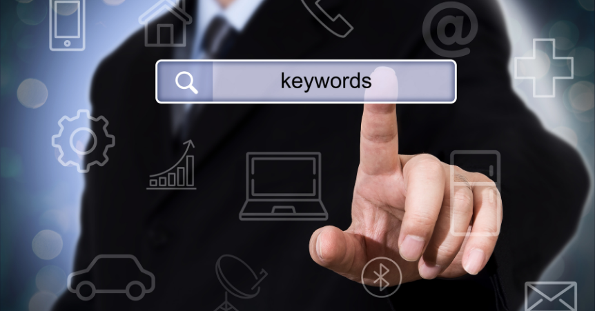 Man's finger pointing towards a search bar