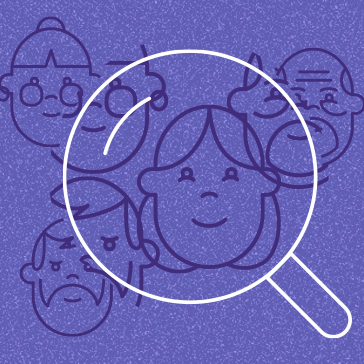 Magnifying glass over a group of people