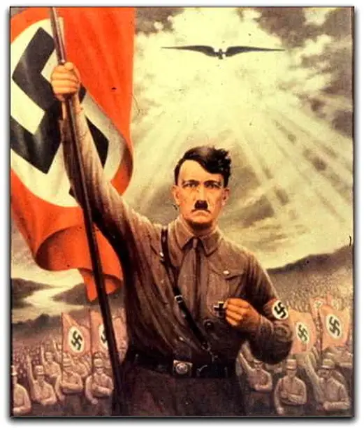 Hitler arching with the Nazi army