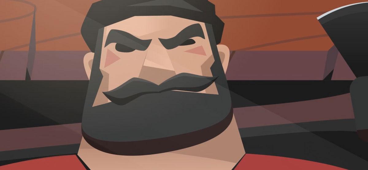A bearded lumberjack with a stern look