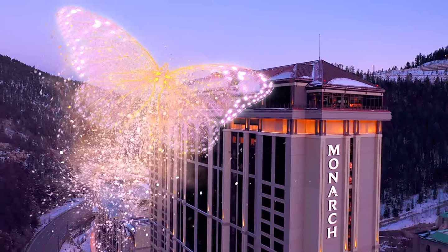 The energy of the new Monarch flies around the exterior of the brand new casino resort spa