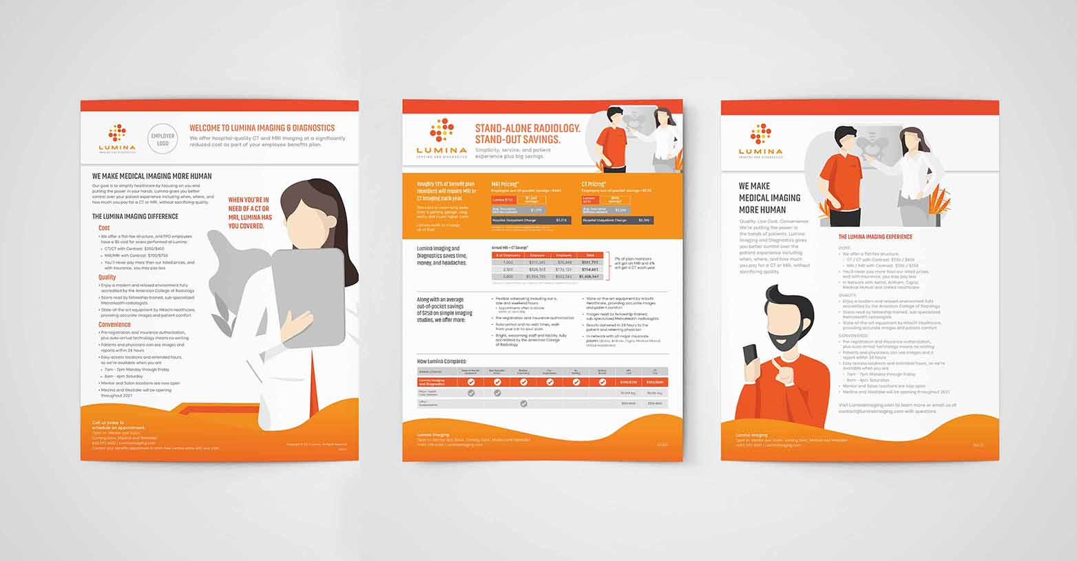 Lumina Imaging flyers produced for large employers