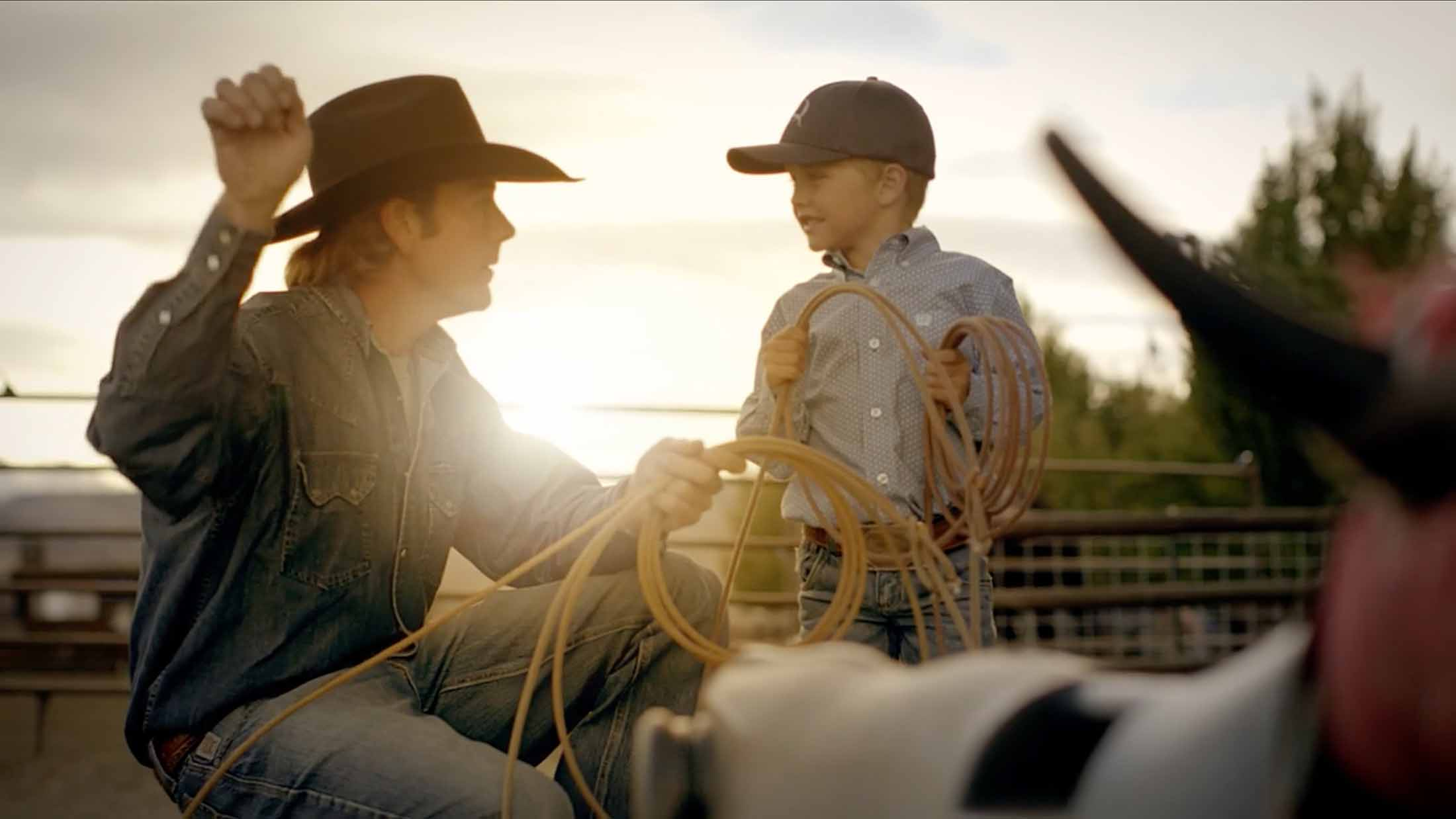 CINCH athlete and team roping heeler, Jade Corkill teaches his son how to catch