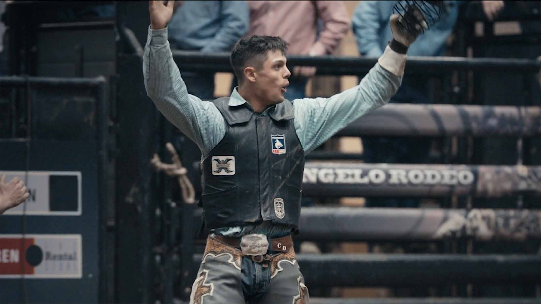 CINCH bullrider Chase Daugherty celebrates after taking the lead in San Angelo, Texas