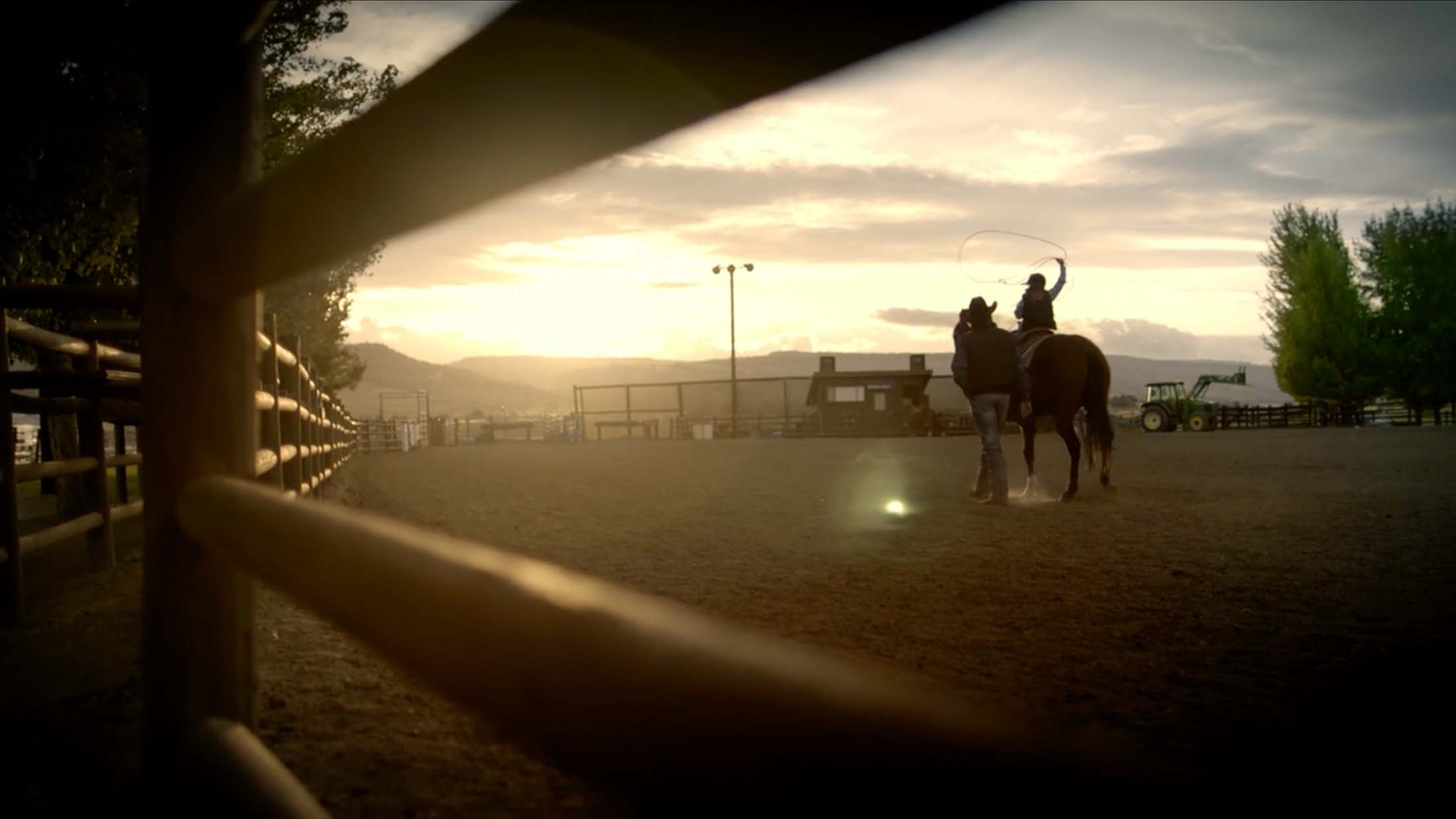 CINCH athlete Jade Corkill rides off into the sunset with his son