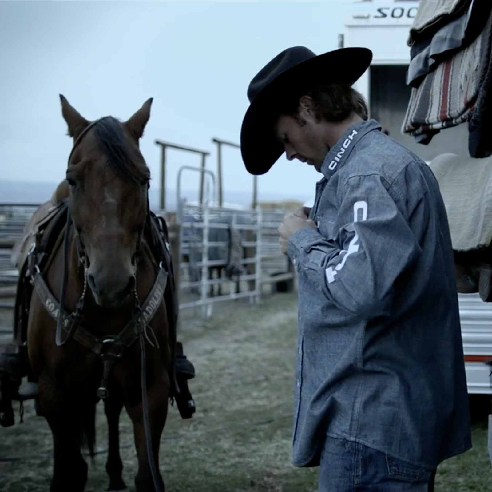 CINCH athlete and 3X world champion heeler, Jade Corkill prepares at the West Star Ranch before the Ellensburg Rodeo