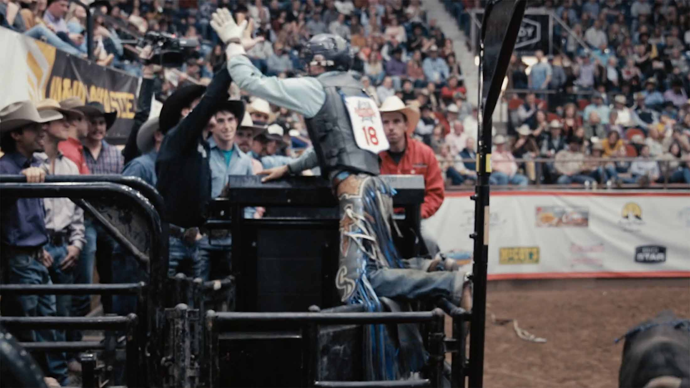 CINCH bullrider Chase Daugherty celebrates after going 89 points in San Angelo, Texas