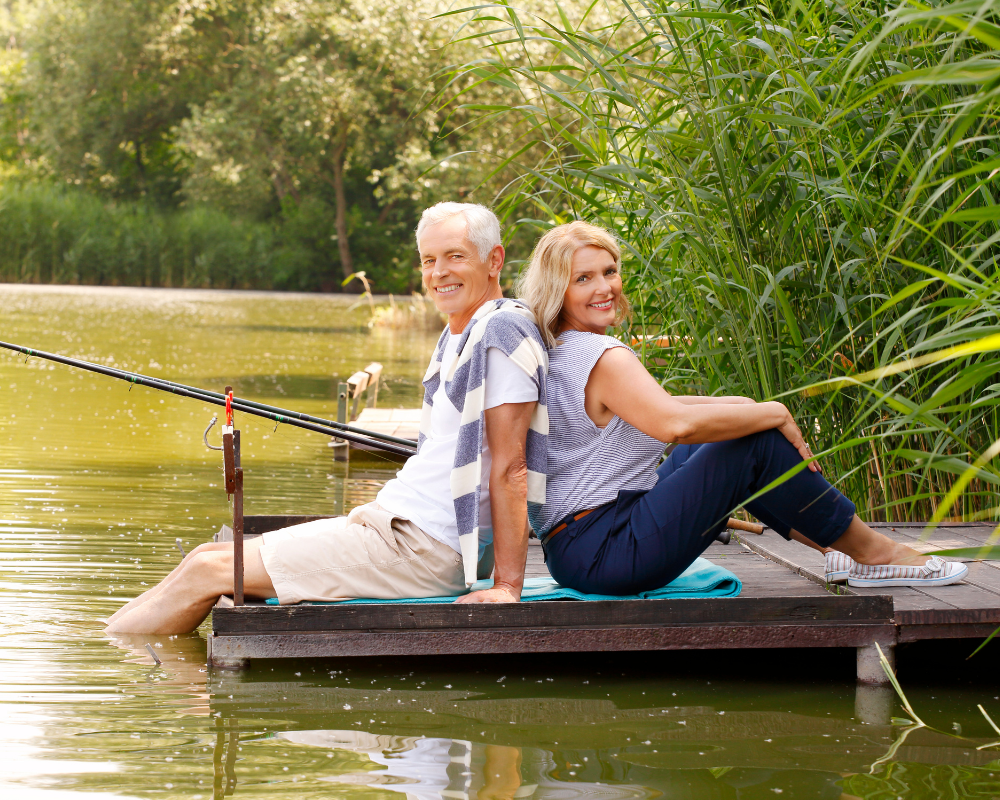 A couple that is happy fishing