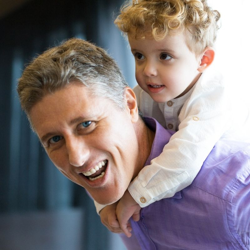 Happy man with his son