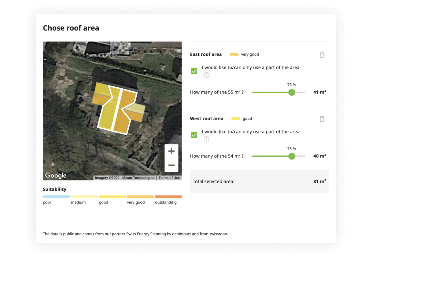 Solar Calculator - suitability of the roof