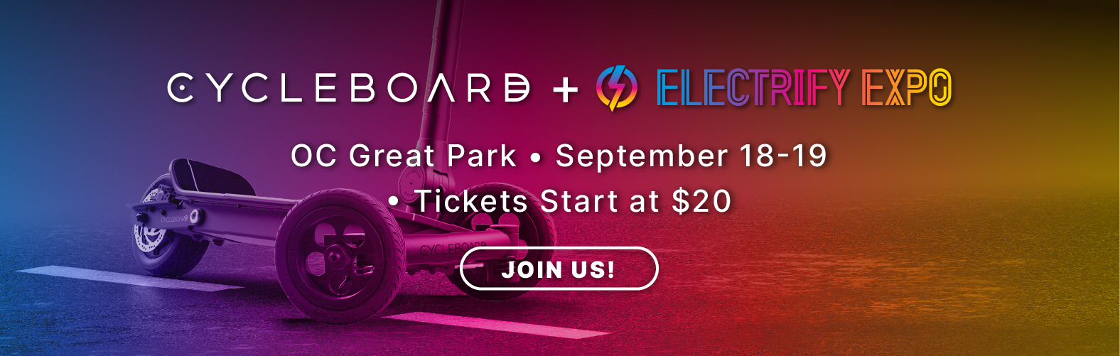 Come experience North America's Largest E-mobility Festival Electrify Expo. Come check out the newest and biggest names in E-Mobility!