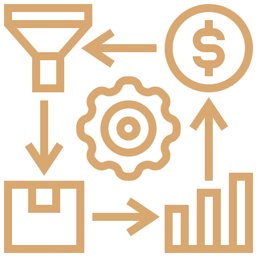 yellow improvement icon showing process with four components