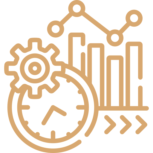 yellow productivity icon showing multiple components of forward progression