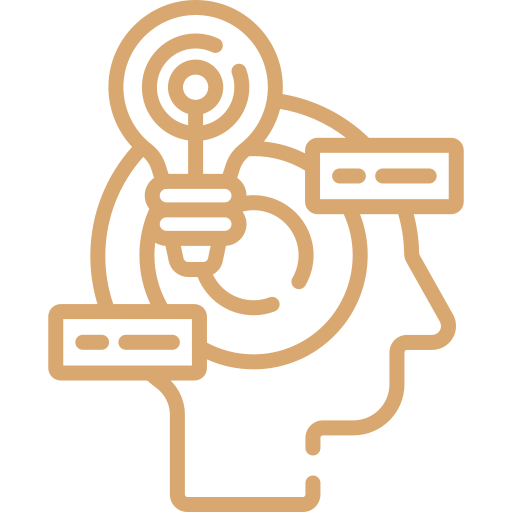 yellow quality principles icon showing outline of a head with multiple thoughts coming out