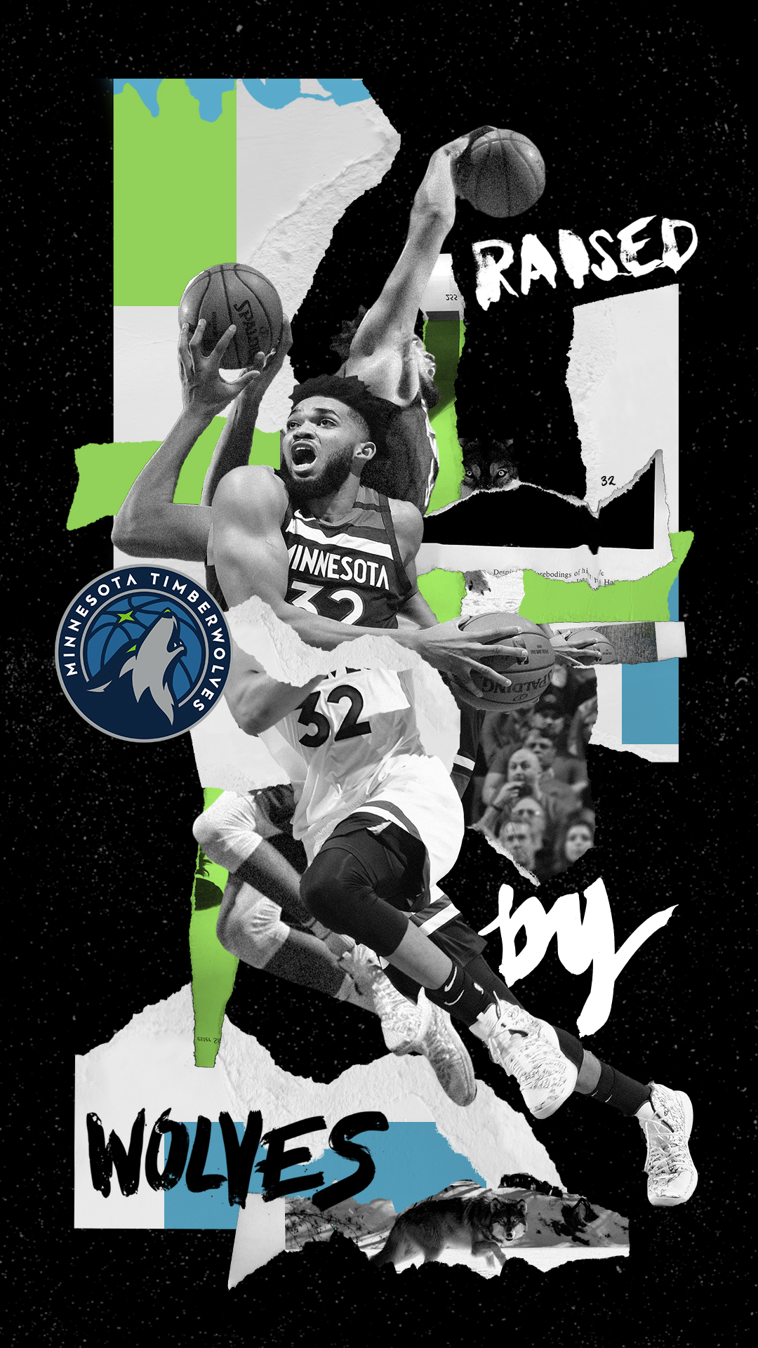 Minnesota Timberwolves Raised by Wolves Poster with Karl Anthony Townes