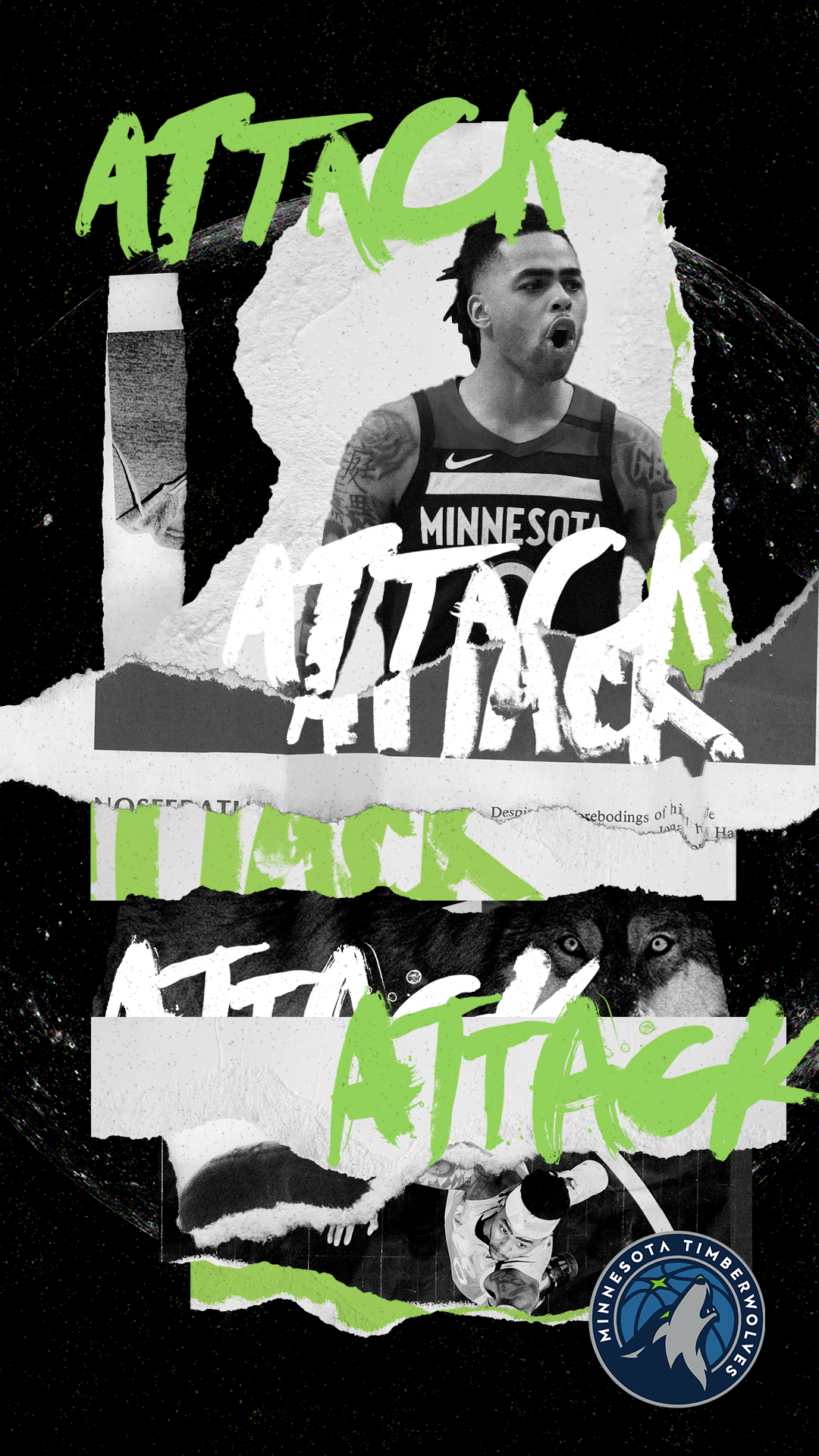 Minnesota Timberwolves Attack Poster with DLO