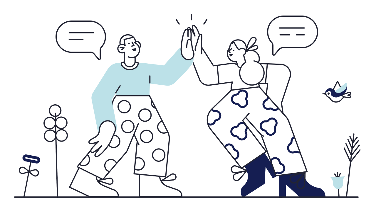 Illustration of happy couple high fiving