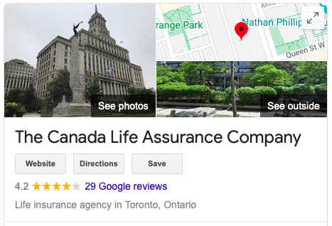canada life insurance Google review of 4.2 stars