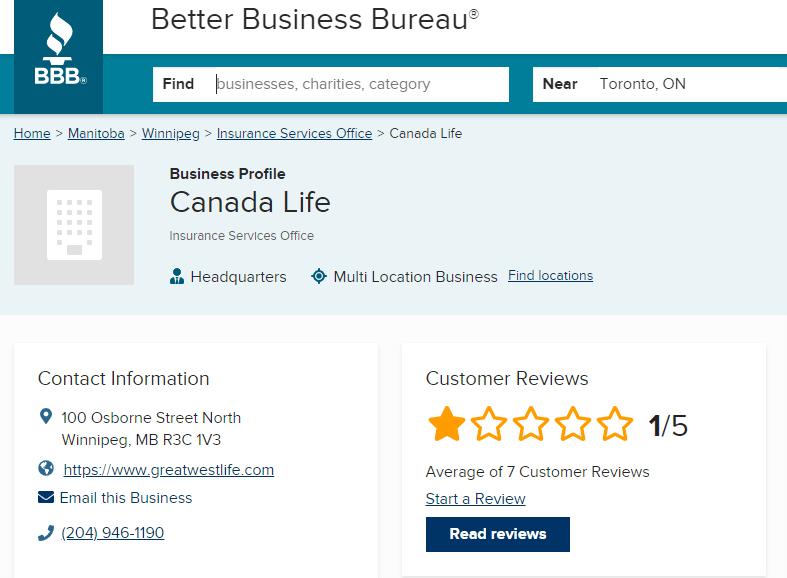 Screenshot of BBB website