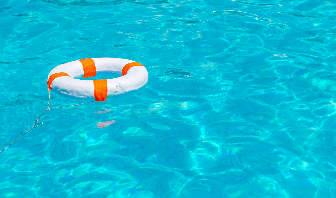 Life buoy in swimming pool