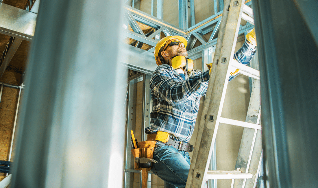 Hard working construction man.