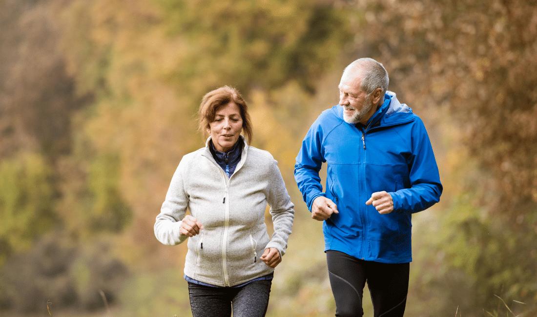 Senior Couple Running outside