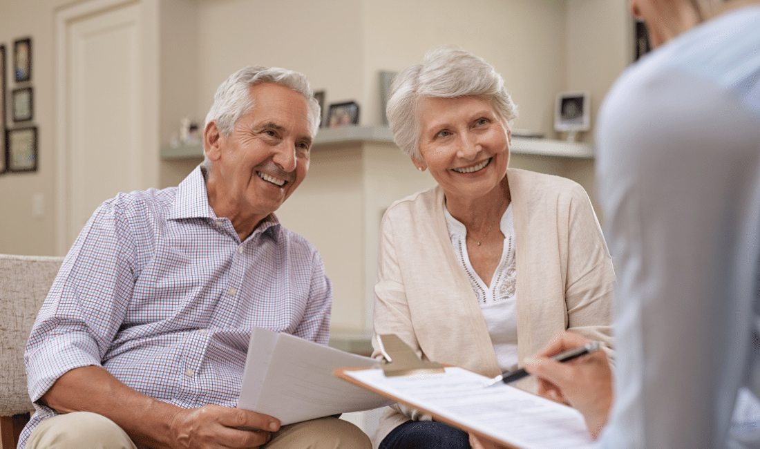 Couple filling document online
