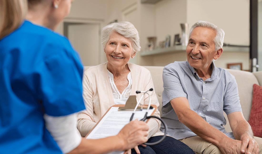 Senior couple consulting nurse