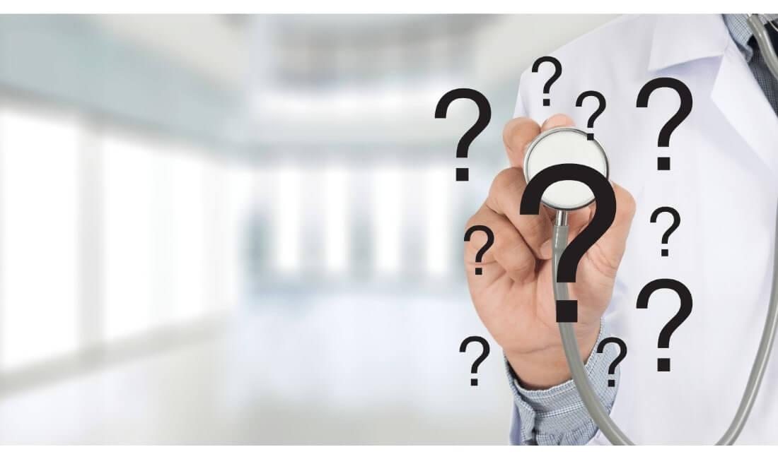 Question marks around stethoscope