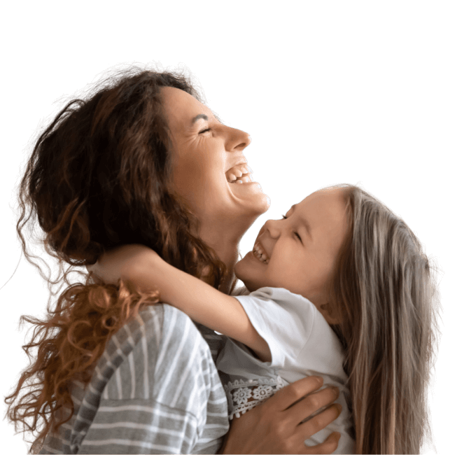 Mother holding daughter happy