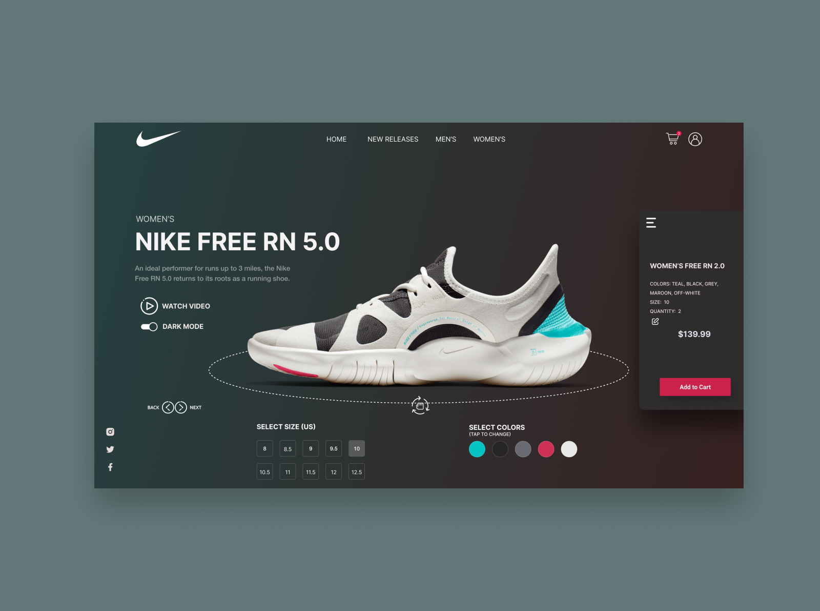 Nike App Redesign Dark Mode