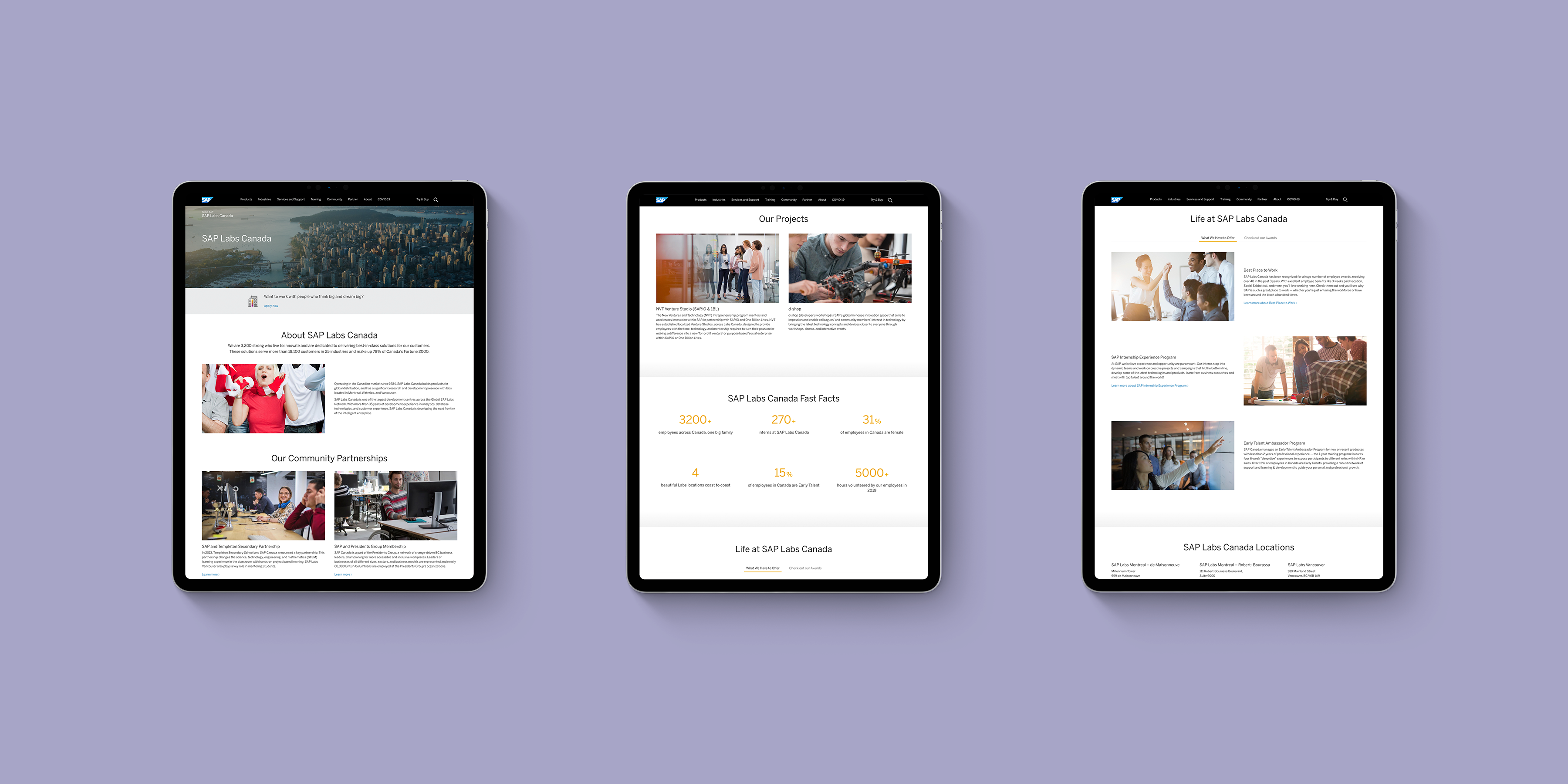 3 iPad Pro mockups with SAP Labs Canada landing page loaded