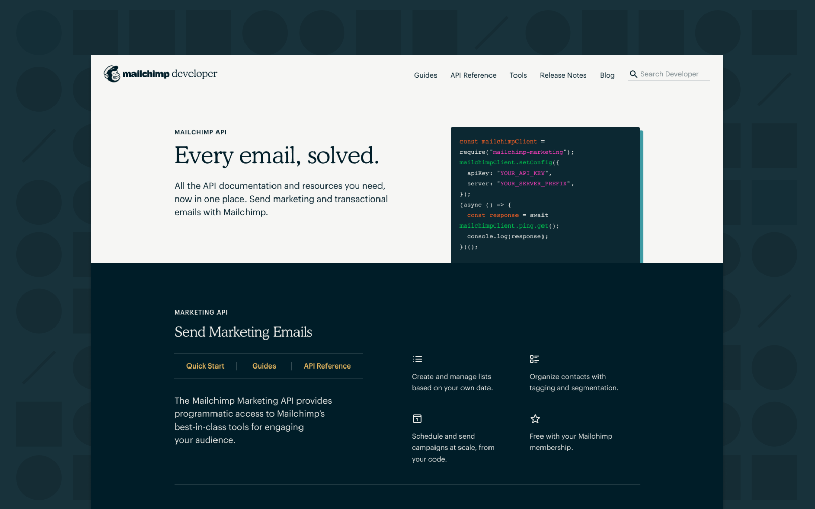 Desktop and mobile breakpoint of the redesigned Mailchimp Developer experience.