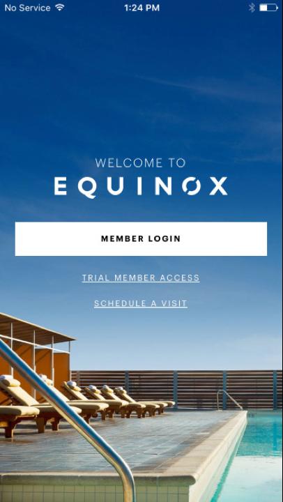 Equinox iOS app login screen