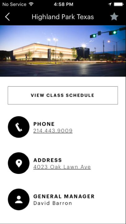 Equinox iOS app club page