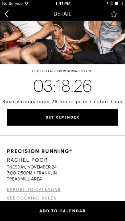 Equinox iOS app class detail page with timer to reserve a spot for class