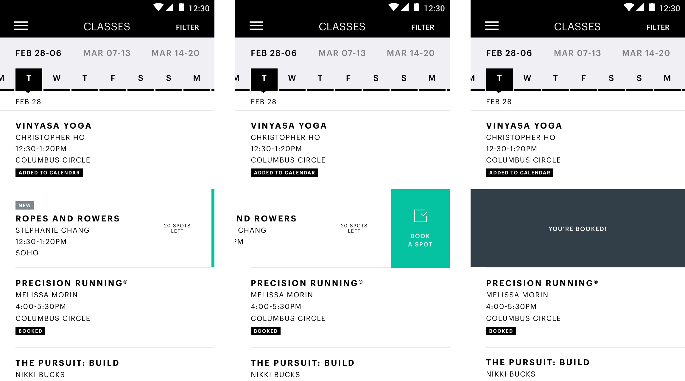 Equinox Android app class search with interactive states