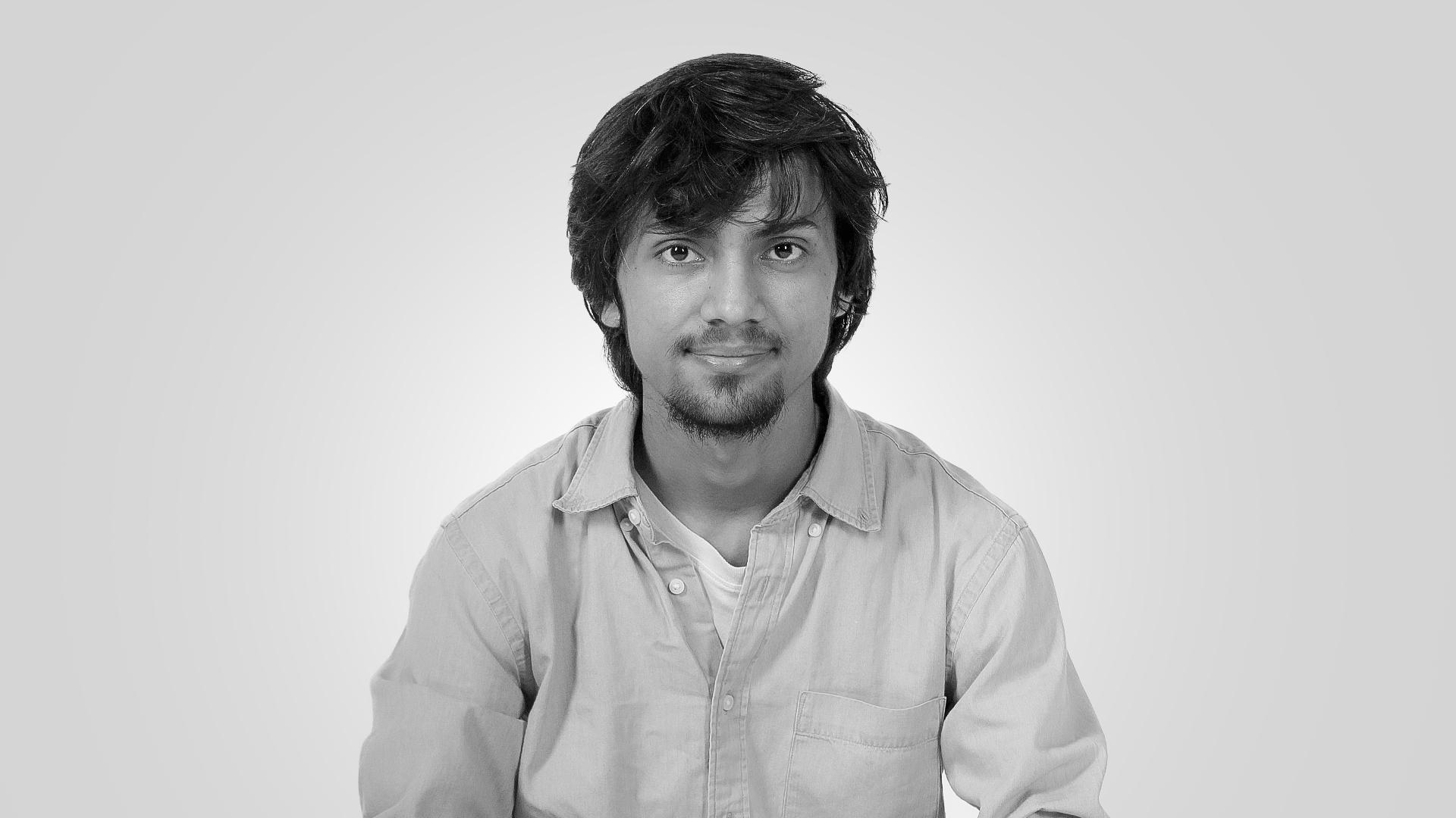 Misbah Ashraf black and white image