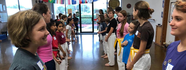 Karatekas lined up
