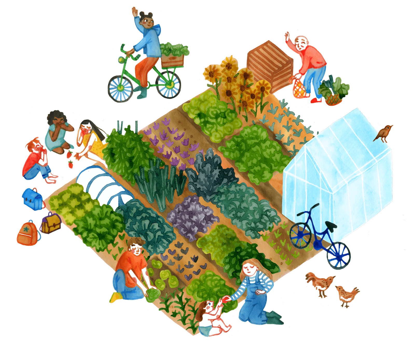 Illustration of a garden tended by a diverse community.