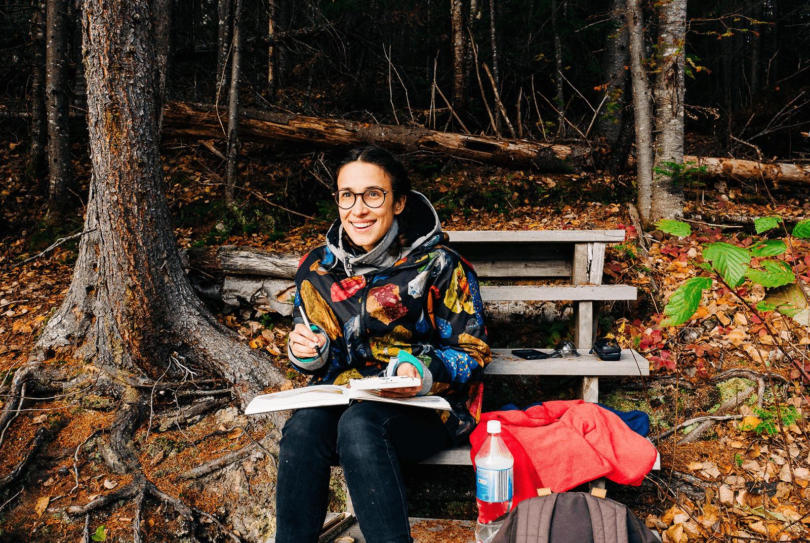 Amandine Thomas sketching in Canada