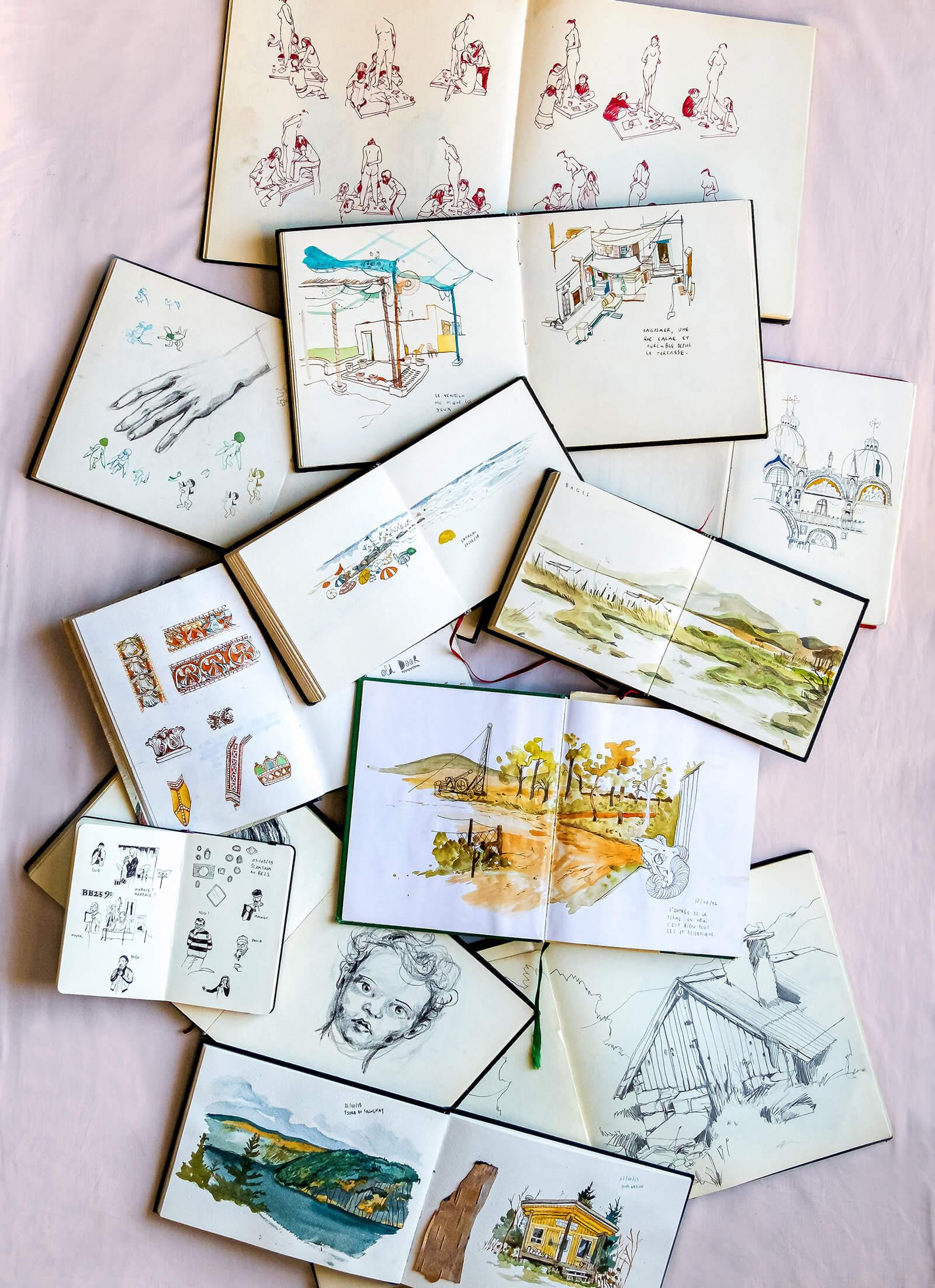 A few of Amandine Thomas's sketching books