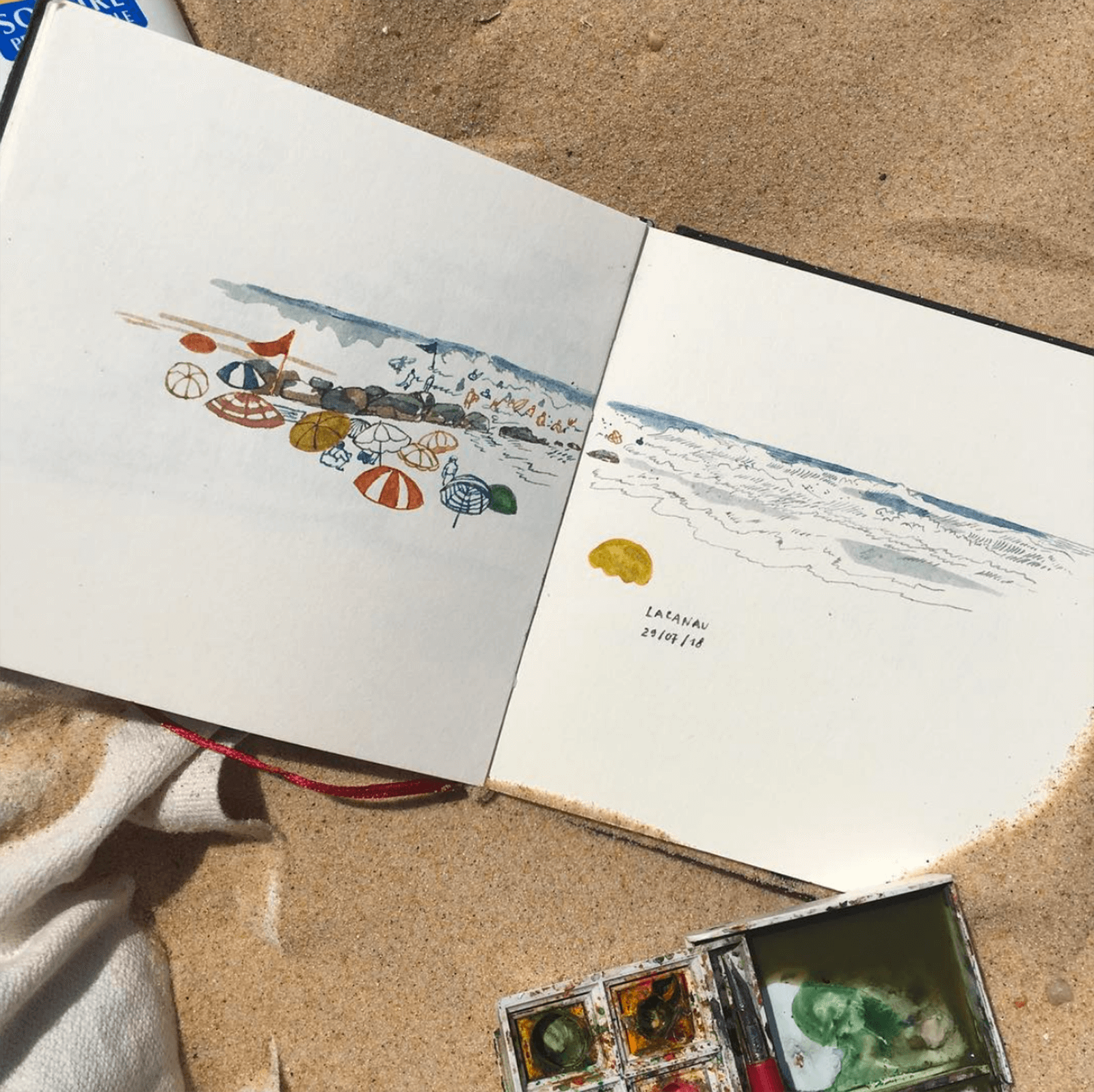 A sketch of the beach with colourful umbrellas