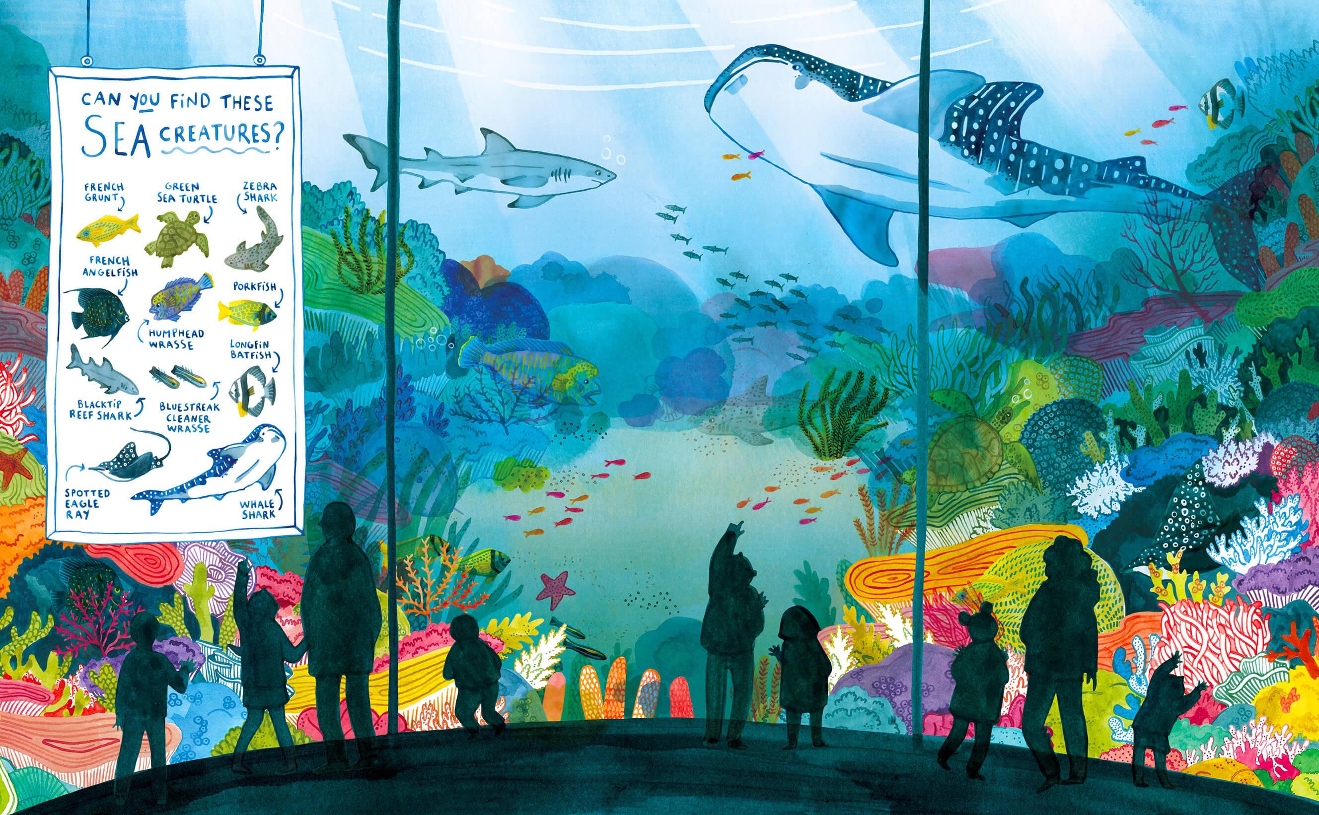 Illustration éditoriale d'un immense aquarium