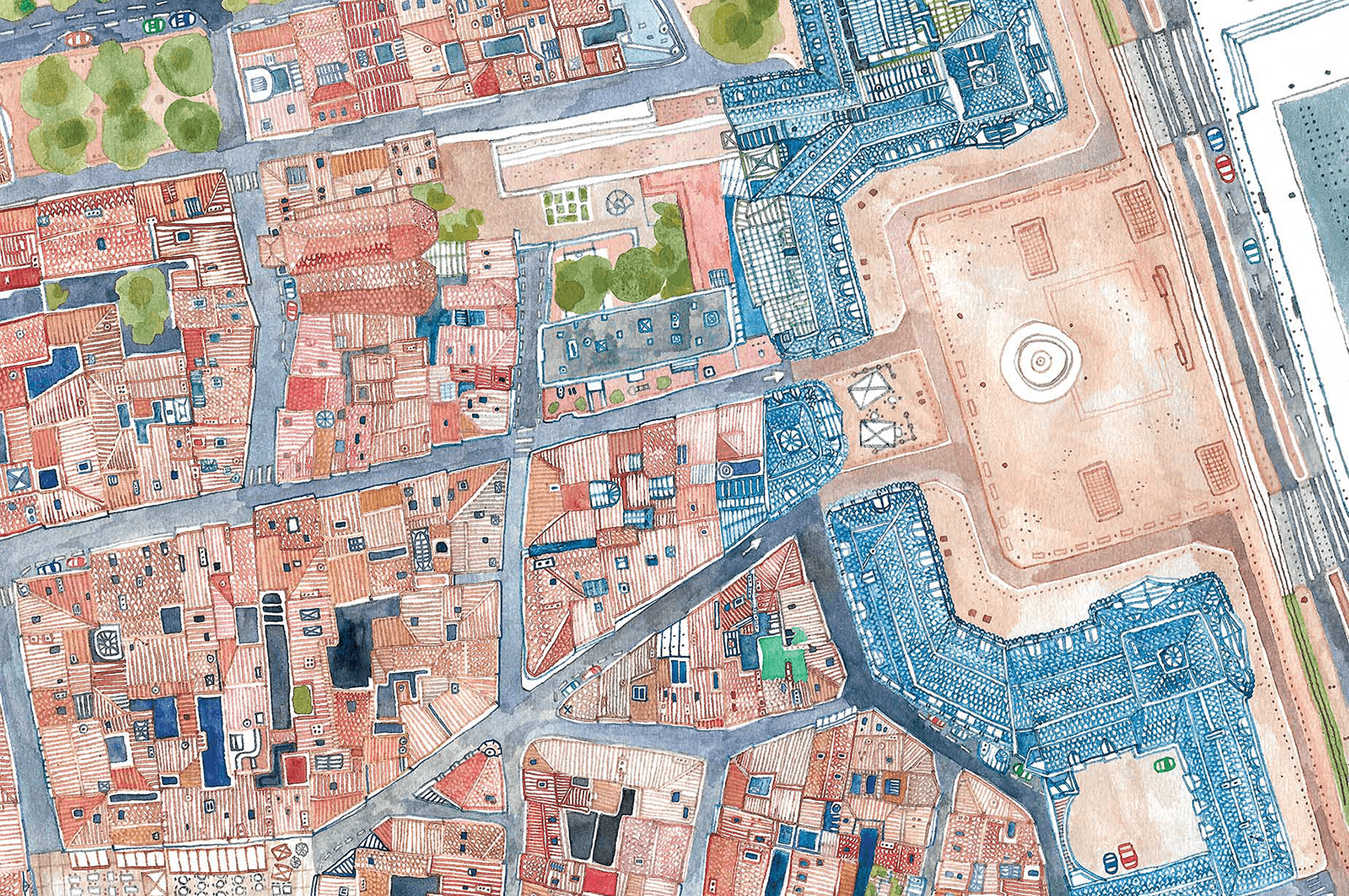 Illustrated map of Bordeaux