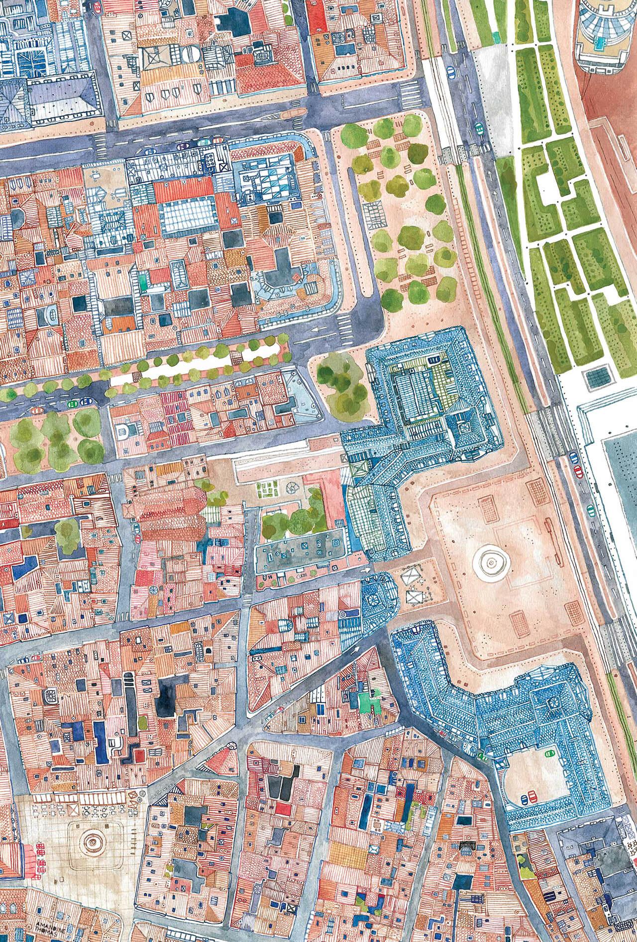 Illustrated map of Place de la Bourse in Bordeaux