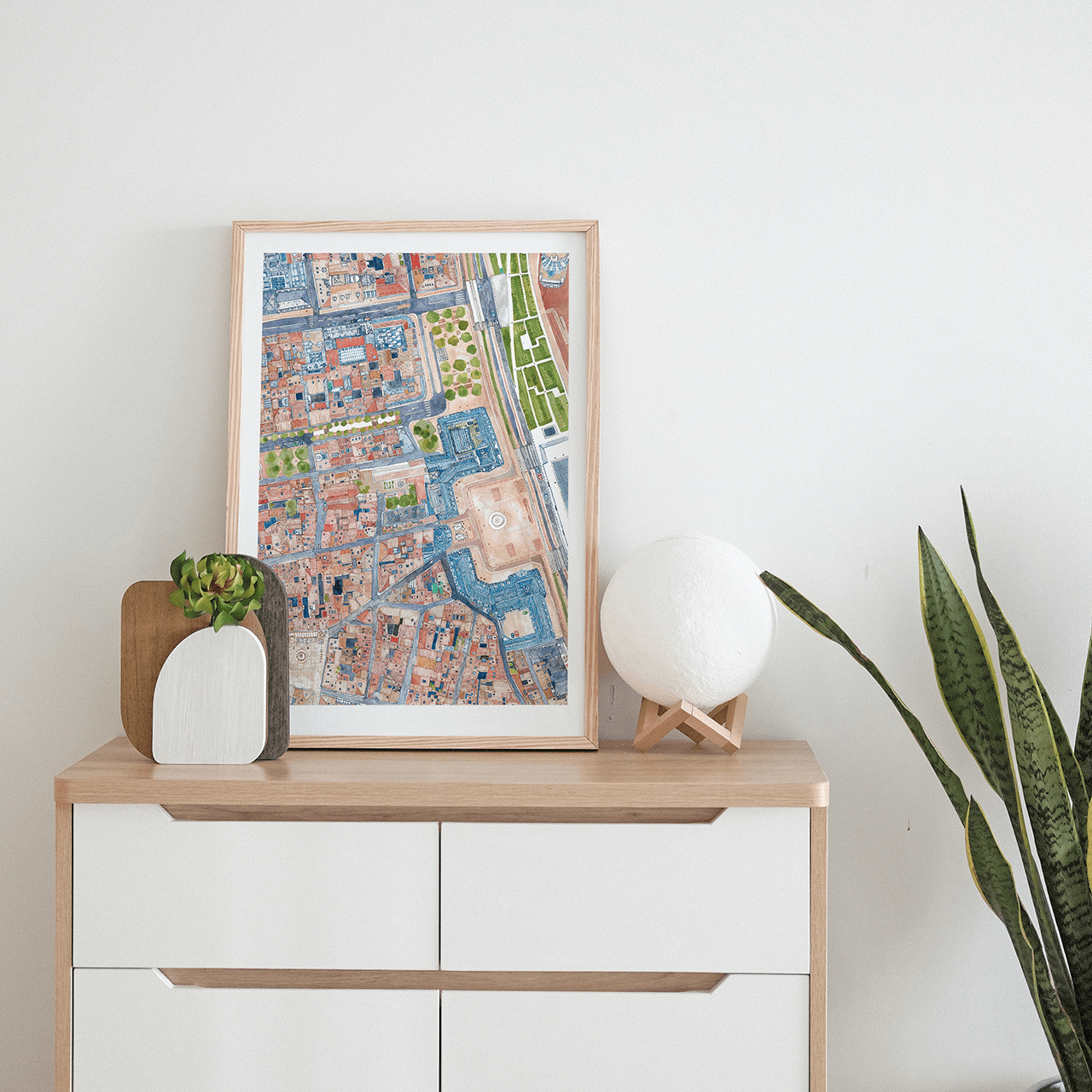 A poster of an illustrated map of Bordeaux